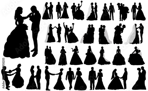 Fotografia, Obraz vector, isolated large set of silhouettes of wedding, the bride and groom