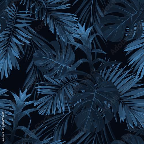 Egzotyczne tropikalne tło vrctor z hawajskimi roślinami i kwiatami. Bezszwowe indygo tropikalny wzór z liśćmi palm monstera i sabal, kwiaty guzmania.