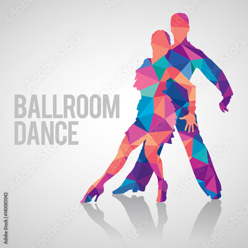 Carta da parati Multicolored detailed vector silhouettes of ballroom dancers
