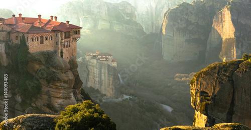Wallpaper Mural Serene morning in impressive Meteora monasteries. Central Greece