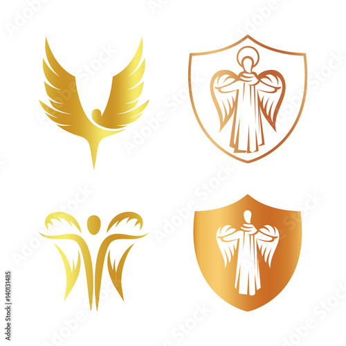 Canvas Isolated golden color angel silhouette logo set, shield with religious element logotype collection,coat of arm with archangel vector illustrations on white