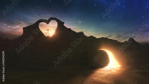 Fotografía Three crosses and empty grave