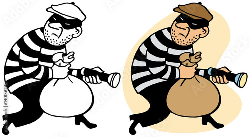 Canvastavla A burglar sneaking off with stolen loot