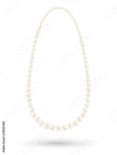 Photo real white pearl necklace vector on a white background
