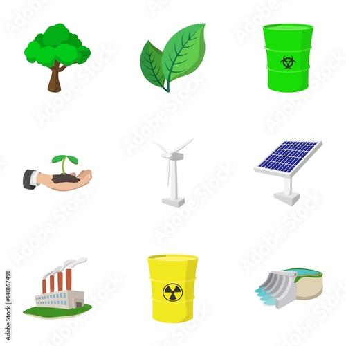 Types of energy icons set, cartoon style фототапет