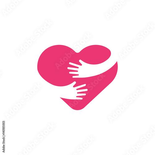 Hugging heart symbol, hug yourself , love yourself Fototapet