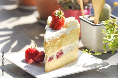 Fototapeta strawberry shortcake or strawberry cheesecake