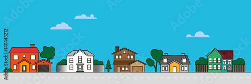Obraz na płótnie Colorful village neighborhood vector illustration