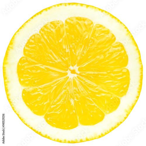 Juicy yellow slice of lemon, white background, isolated
