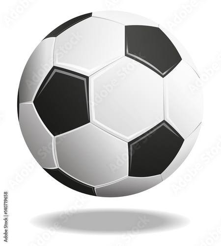 Soccer ball with shadows isolated on white background. 3D Illustration.