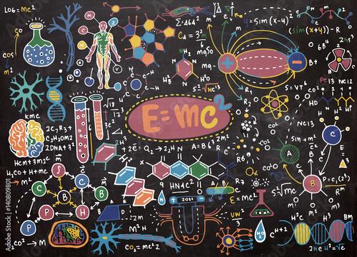 Canvas Print Vector illustration of scientific formulas and calculations in p