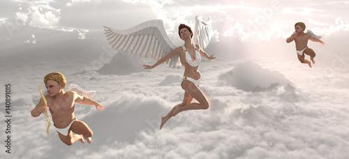 Fotografia Angel and cherubs in heaven