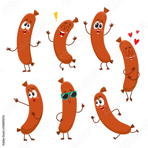 Fotografia Cute and funny sausage characters with human face showing different emotions, cartoon vector illustration isolated on white background