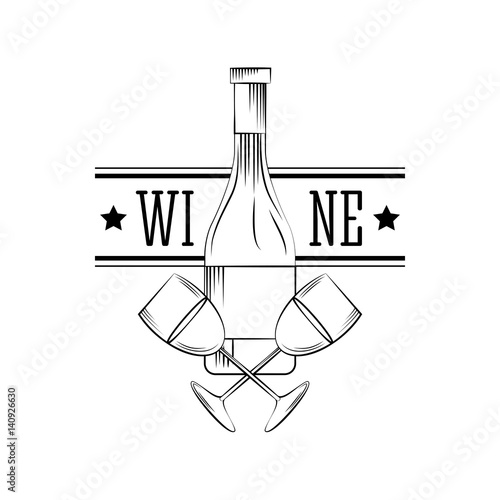 Canvas Print wine bottle and wine glasses over white background