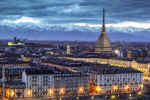 Canvas Print Turin, Piemonte, Italy. cityscape from Monte dei Cappuccini