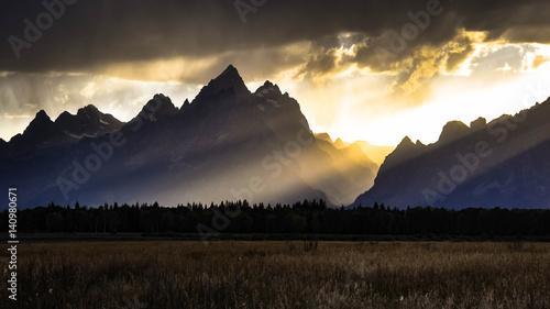 Fotografie, Obraz Sunset At Grand Teton