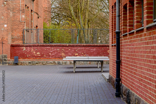 Photo Table for table tennis in the courtyard of the school.