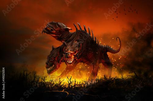 Vászonkép Scary Cerberus