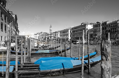 Grand Canal in Venice, Italy with Blue Gondolas in Foreground