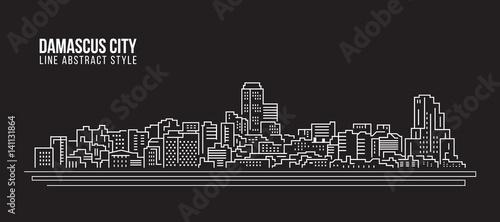 Fotografia Cityscape Building Line art Vector Illustration design - Damascus city