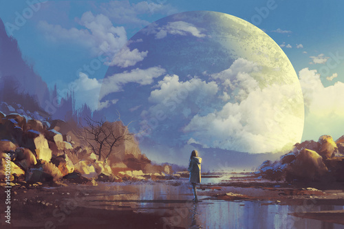 sceneria samotna kobieta patrząc na inny erath, malarstwo ilustracja