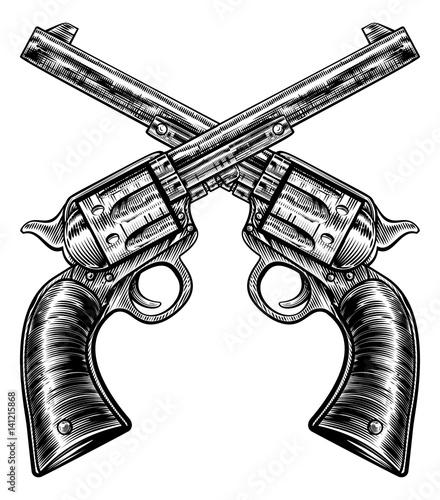 Fotografie, Obraz Crossed Pistol Gun Revolvers Vintage Woodcut Style