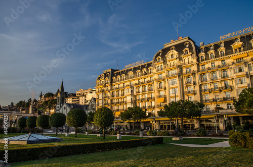 Canvas Print A hotel in Montreux, Switzerland