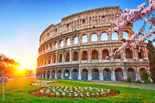 Billede på lærred Colosseum at sunrise in Rome, Italy