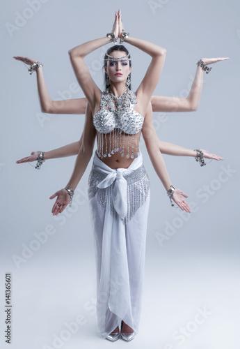 Obraz na płótnie Shiva goddess with eight arm posing