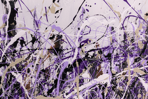 Abstract Splash Painting Art: Strokes with Different Color Patterns like Purple, Violet and Black