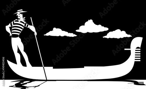 Tablou Canvas Vector silhouette of a cartoon gondolier rowing a gondola, EPS 8, no white objec