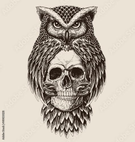 Fototapeta premium Misterny rysunek przedstawiający sowę trzymającą czaszkę