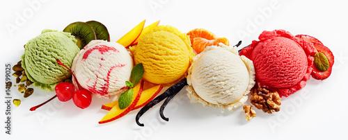 Row of ice cream scoops