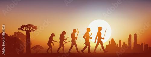 Fotografiet évolution - intelligence, humanité, espèce, Forêt - Ville - Coucher de soleil
