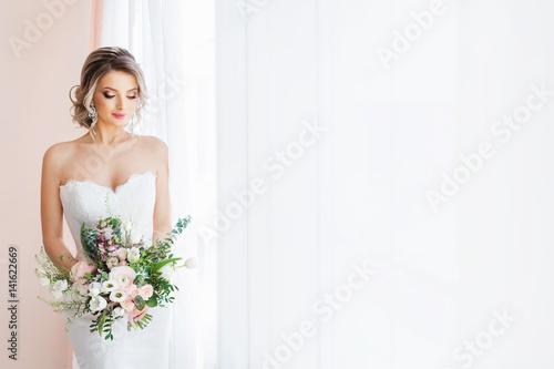 Fototapeta Fashion portrait of a beautiful bride