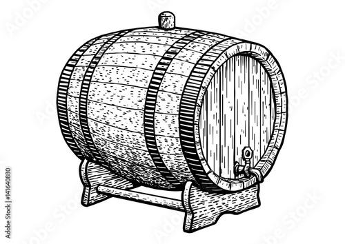 Tablou Canvas Barrel illustration, drawing, engraving, ink, line art, vector