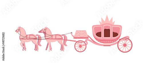 Fotografia Pink carriage drawn by four horses on white background.