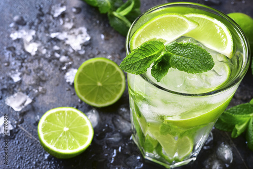 Canvas Print Cold summer drink mojito in a tall glass.