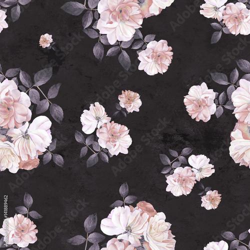 Roses flower watercolor dark seamless pattern