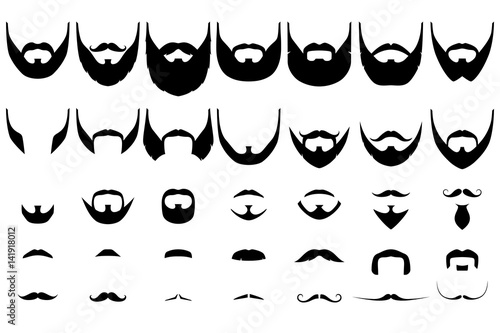 Carta da parati Set of isolated vector facial hair styles on white background
