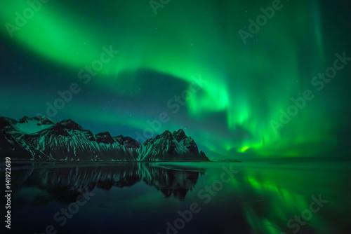 Canvas Print Stokksnes aurora reflections