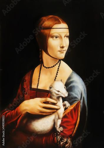 Moja własna reprodukcja obrazu Dama z gronostajem Leonarda da Vinci Fototapeta