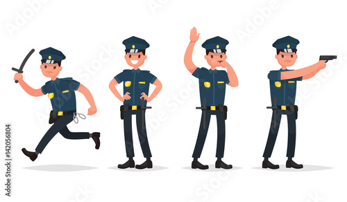 Photo Set of policeman in different poses