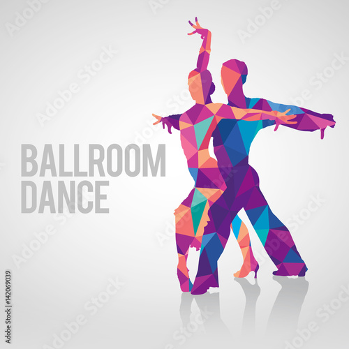 Fotografering Multicolored polygonal vector silhouette of ballroom dancers