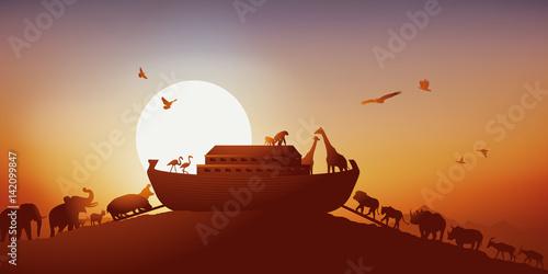 Obraz na plátne Arche de Noé - Bible, déluge - Dieu - Religion - humanité - Coucher de soleil