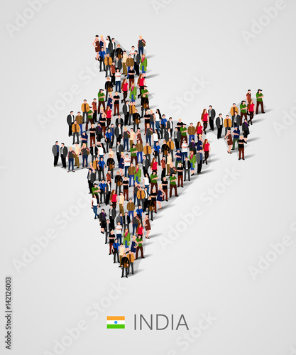 Photo Large group of people in India map form