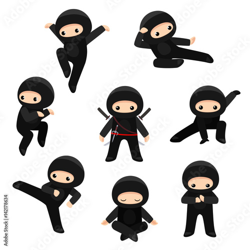 Canvas Print Set of cute ninjas in various poses isolated on white background
