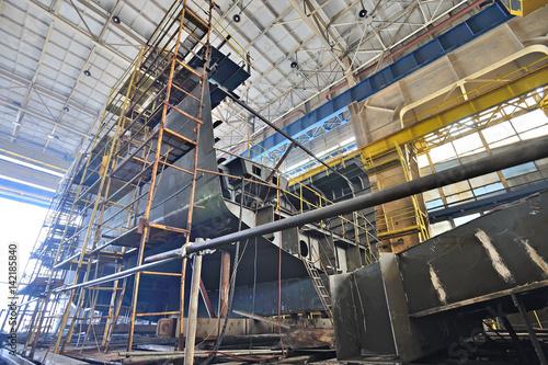 Obraz na plátně Ship building  inside of shipyard