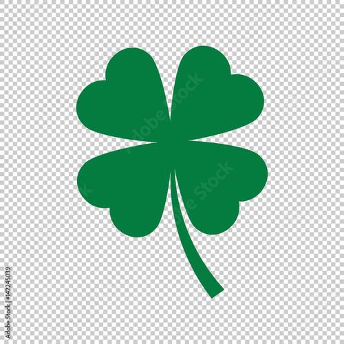 Cuadros en Lienzo green clover leaf on transparent background, vector illustration