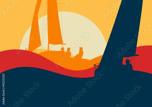 Fotografie, Obraz Yachts sailing regatta ocean landscape with sunset